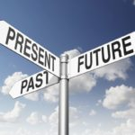 Street sign pointing in directions with present, past and future